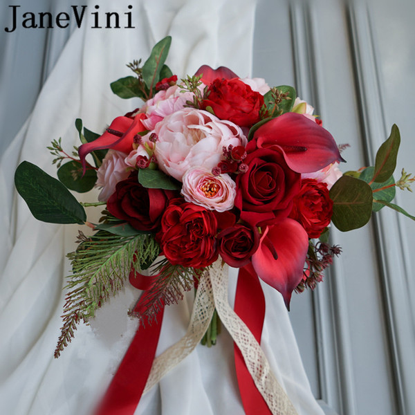 JaneVini Red Brooch Brides Bouquet Wedding Flowers Calla Lilies Artificial Faux Roses Pink Peony Bridesmaids Bridal Bouquet Lace Handle