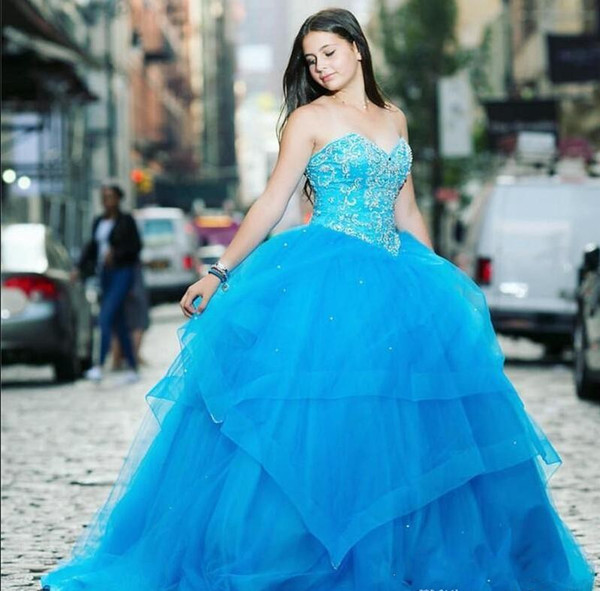 2019 Sky Blue Ball Gown Quinceanera Dresses Sweet Heart Sweep Train Crystal Tiered Prom Party Gowns For Sweet 15 vestidos de 15 anos