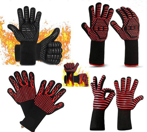 Grill Gloves Heat Resistant Grilling Glove Oven Mitts Silicone Insulated Barbecue Glove Fireproof Cotton Gloves dc022