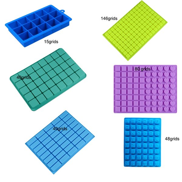 15/40/80/126 Grids Silicone Square Form Ice Cube Mold Tray Heart Shape Fruit Popsicle Ice Cream Maker Wine Kitchen Bar Drinking