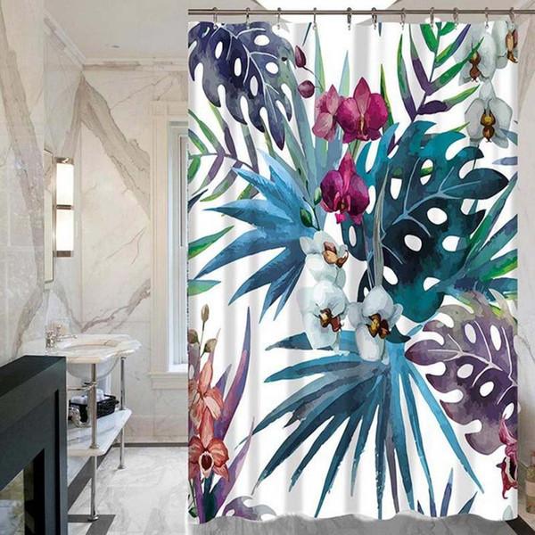Тропические Растения Зеленые Листья Творческий Цифровой Печати Шторы Душ Ванная Комната Продукты С 12 Крючками Оптом