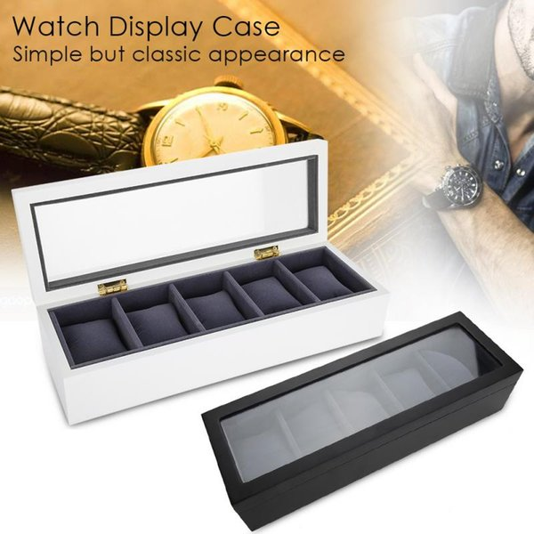 2018 High Quality 5 Grids Wrist Watch Display Box Storage Organizer Watch Case Jewelry Dispay Nail Art Equipment