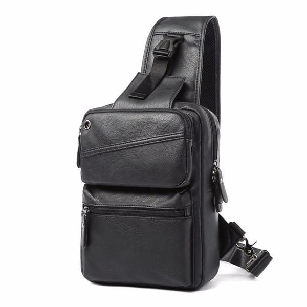 Korean Pu Leather Male Package Chest Bag Satchel Trend Shoulder Bags For Man Vintage New Design Fashion Men Crossbody Bag