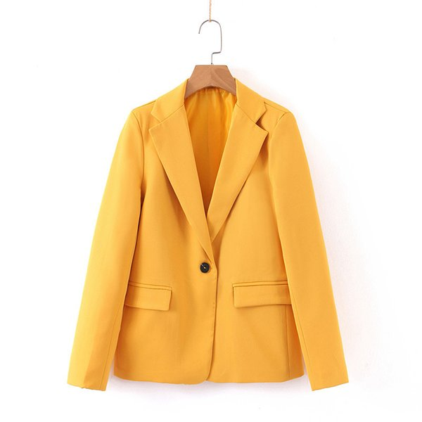 Mémoire de conception WT225 femmes jaune coloe un bouton à manches longues Blazer Office Lady Mars Tous les Blazers Outwear