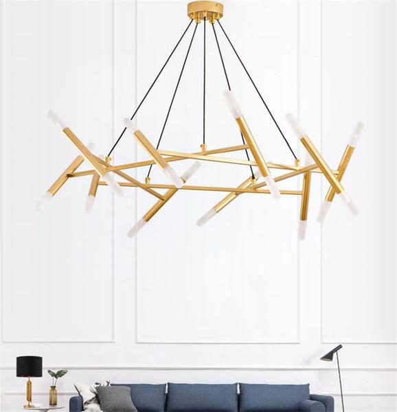 Moderna Branch LED Pendant Light Fixtures Gold Metal Lampade Sospensione LED per il salone Studio Camera Bar Casa del deposito Illuminazione