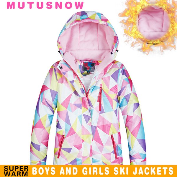 MUTUSNOW Girls Ski Jacket Kids Winter Brands High Quality Waterproof Breathable Winfproof Thicken Warmth -30 Degrees Snowboard Snow Pants