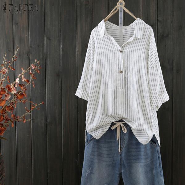 Venta al por mayor 2019 mujeres blusa de verano para mujer Casual de manga media con rayas Top Ladies Baggy Button Up camisa de trabajo de oficina Blusas