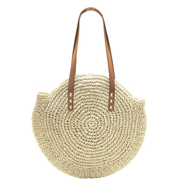 Designer Women Round Straw Bag Portable Ladies Natural Tote Big Large Handbag Woven Popularity Straw Shoulder Bag Girls Holiday Beach Bag