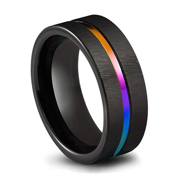 Men's Jewelry Black Tungsten Carbide Wedding Ring 8mm Colorful Rainbow Ring Size 6-13 Size 6 - 13