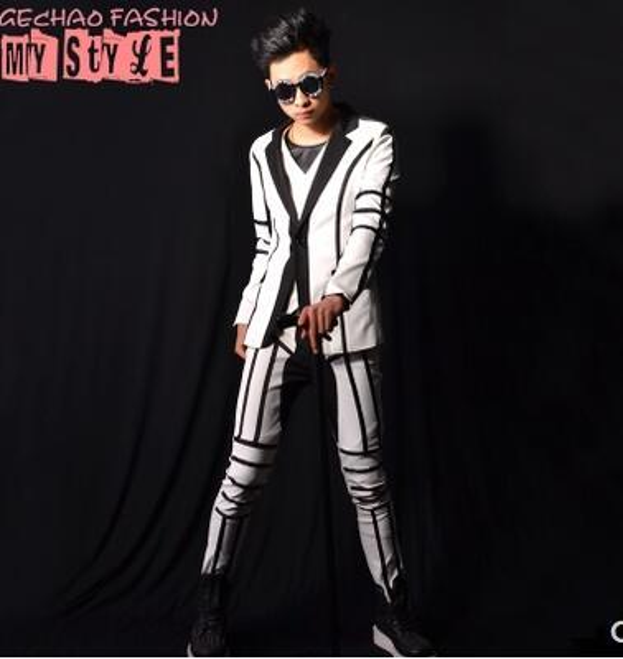 S-5XL HOT New Bar Men clothing Fashion singer dj bigbang gd White stitching casual suit pants hairstylist costumes formal dress plus size