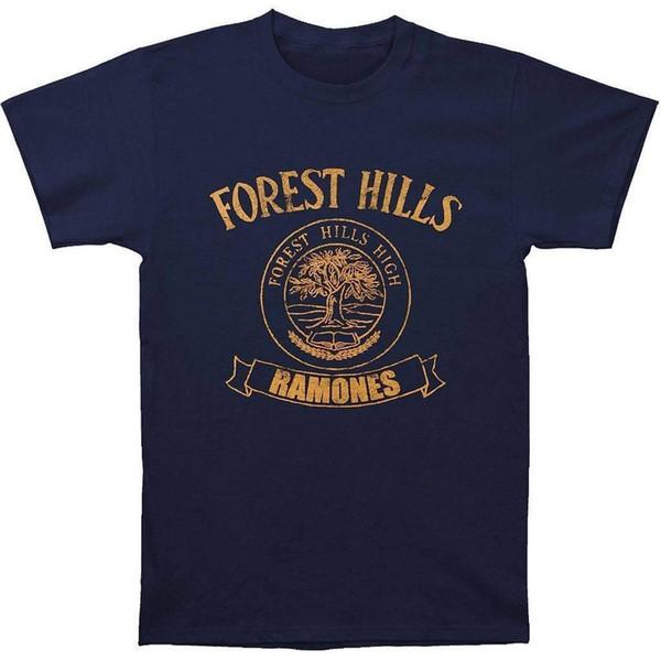 Maglietta degli uomini della maglietta degli uomini di Ramones Forest Hills High degli uomini Maglietta nera di Hip Hop della maglietta del cotone del manicotto della maglietta nera Stampa