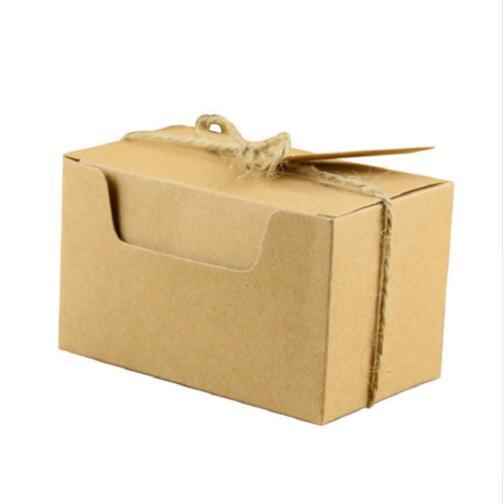 100pcs Kraft Paper Candy Box Packaging Bag Baby Shower Wedding Favors and Gifts Box for Guests Cookies Boxes Party Supply