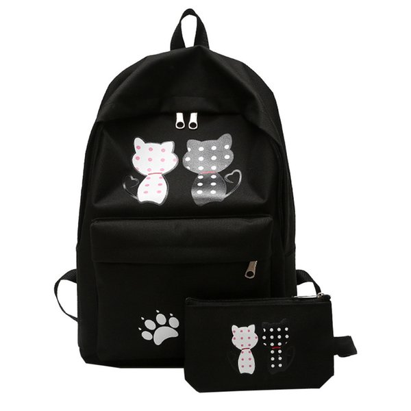 2pcs Women Bag Fashion Girl Student Nylon School Bag Cute Cat Printing Backpack Travel Shoulder Bag+clutch Bags Bookbags