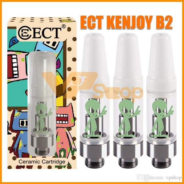Authentic ECT Kenjoy B2 Vape Cartridges with Alien Display Box 0.5ml 1.0ml Ceramic Coil E Cigarette Tank for 510 Thread Battery