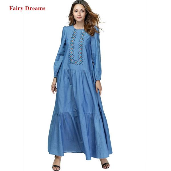 Women Muslim Dress Abaya Dubai Plus Size Islamic Clothing Kaftan Pakistan Turkish Moroccan Embroidery Robe Denim Maxi Dresses