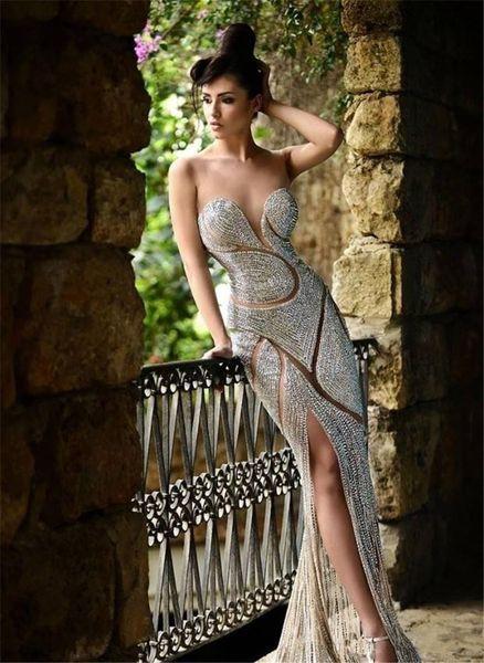 2019 Custom Made Beaded Evening Dresses Luxury Jewellery Rhinestones Sheer Jewel Corset Mermaid Floor Length Red Carpet Celebrity Dresses