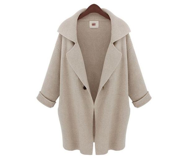 Donne cappotto inverno 2019 nuovo arrivo Outwear donne streetwear sottile nella sezione lunga maglia cappotto cardigan all'ingrosso formato libero