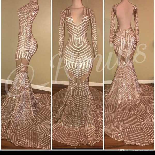 Hot Sell Rose Gold Sequined Prom Dresses 2019 Long Sleeves V Neck Backless Sexy African Mermaid Evening Dress Arabic Formal Wear Gowns