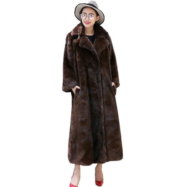 Autumn faux mink leather jacket womens coats winter thicken warm fur leather long trench coat women slim jackets fashion brown