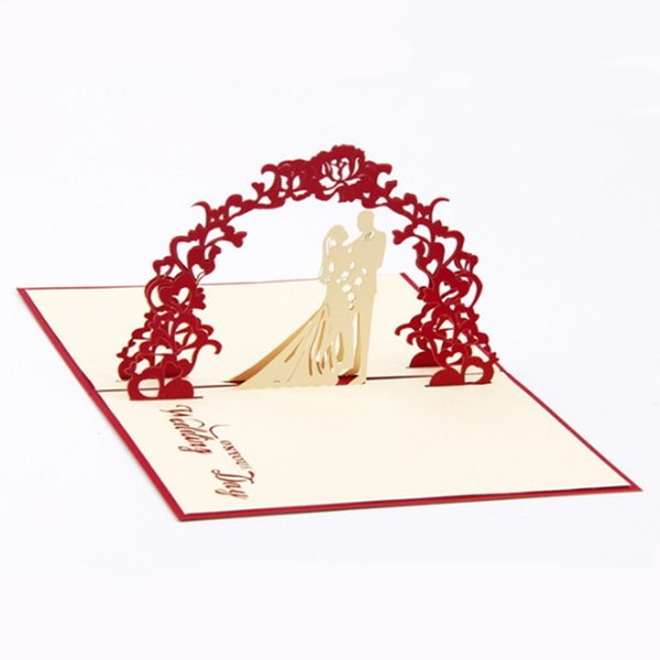 3D Wedding Invitation Cards Manual Handmade Card Decoration Greeting with Envelope Hollow Sweet Red Paper Folded Bride Accessories