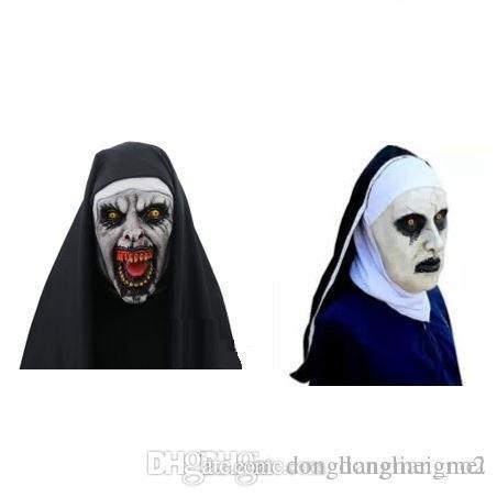 DLM2 A freira Cosplay Máscara Traje Latex Prop Capacete Valak Halloween Horror assustador Conjuring assustador do partido Brinquedos Costume Props 20pc WN665
