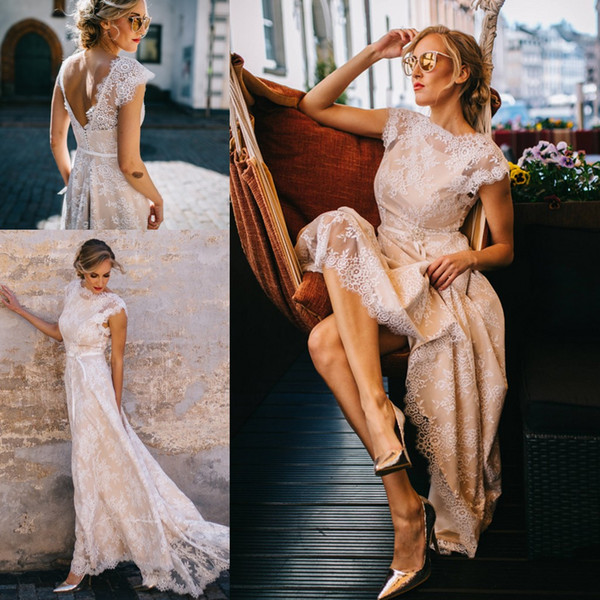 2019 New Arrival White Lace Champagne Satin Wedding Dresses Jewel With Short Sleeves Country Style V Backless Wedding Reception Bridal Gowns Strapless