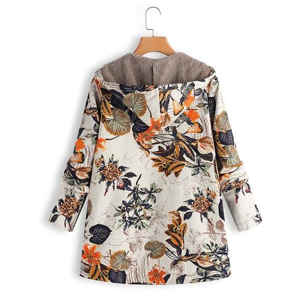 5xl Artı Boyutu Kadınlar Uzun Parkas Mont Vintage Çiçekli Baskı Kalın Polar Ceket Kış Kadın Kapşonlu Sıcak Giyim Parkas