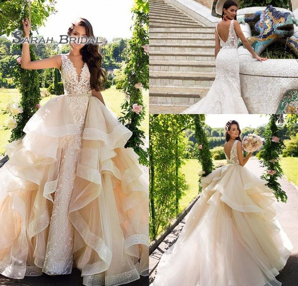 2019 Long Champagne Mermaid Bride Dress with Ruffles Detachable Overskirt Sexy Backless Evening Wear Formal Gown High-end Wedding Boutique