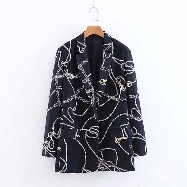 New arrival XZ60-1949 European and American Fashion Chain Printed Suit