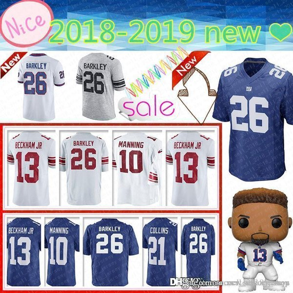 new product 47db0 7f849 2019 New York Gaint Men'S 26 Saquon Barkley Jersey 10 Eli Manning 13 Odell  Beckham Jr 87 Sterling Shepard 21 Collins 15 Marshall Jerseys From ...