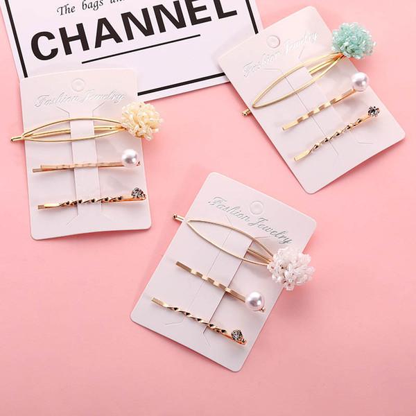 INS Fashion pearl girls hair clips flower kids barrettes princess designer hair accessories for women BB clips rhinestone hair clip A6285