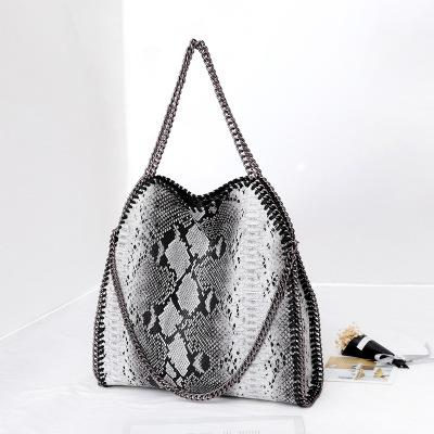Europe and the United States autumn and winter snake pattern one shoulder three chain bag portable folding leopard lady bag big bag