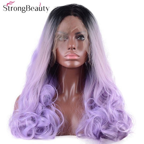 Long Wavy Blue Violet Wig Synthetic Ombre Black to Light Blue Lace Front Two Tone Wig