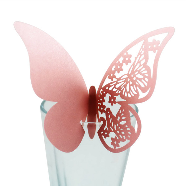 10pcs Table Mark Number Glass Laser Cut Butterfly Place Escort Wine Glass Cup DIY Paper Card for Wedding Party Festival Supply 10pcs