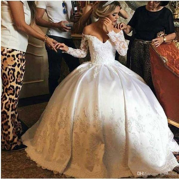 New Princess Ball Gown A Line Abiti da sposa Scollo a V Appliques in pizzo Manica lunga Abito da sposa in raso abiti da sposa Abito formale per sposa