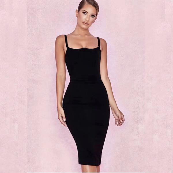 Compre Vestido Negro De Las Mujeres Del Vestido Del Vendaje Del Amarillo Anaranjado De La Nueva Llegada 2019 Vestido De Fiesta De La Celebridad Del