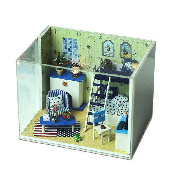 Diy Wooden Doll House Assembly Toy Model Children Toys Pretend Play Set For Kids Boys Girls Creative Dollhouse Set Gift Mb072
