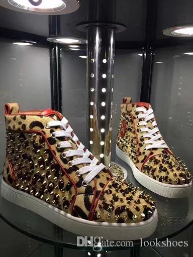 Sneaker di lusso firmata Louisflats Uomo Donna Sneaker alta con fondo rosso Rivetti in vera pelle con comode feste all'aperto