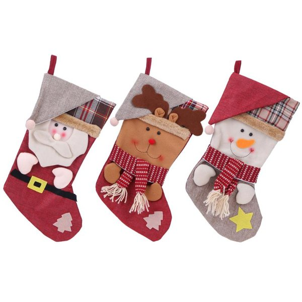Christmas Stocking with Cap Party Door Window Decor Gift Bag Christmas Kids Gifts Sock Tree Ornaments Candy Bags