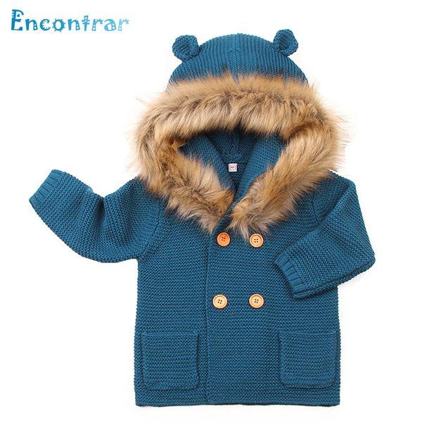 Encontrar Autumn Warm Baby Sweater Fur Collar Hood Detachable Girls Knitted Cardigan Spring Children Solid Jacket 6M-24M,DC339