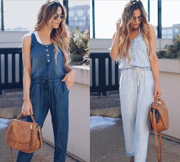 Hot Sale! Denim Jumpsuit Summer Women Vest Sleeveless Lace-up Button Rompers Trousers Patchwork Overalls Bodycon Jeans Jumpsuits Blue Color
