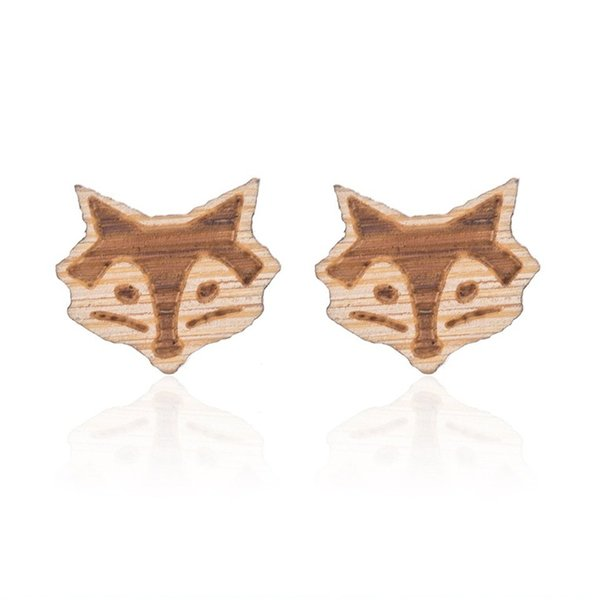 Foxy Earring Studs Handmade Minimalist Earrings Fox Totem Animal Wooden Earrings Mothers Day gift
