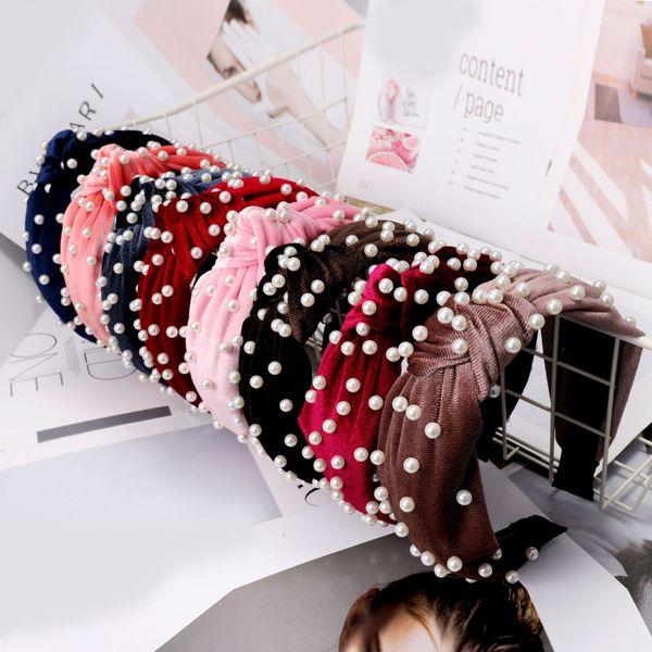 Moda perla de terciopelo diadema suave simple mujer grano anudado amplia Hairband Dama linda fiesta accesorios para el cabello TTA1071