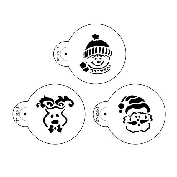3pcs de Navidad de la plantilla de la plantilla de la galleta Conjunto pasta de azúcar de la torta pasta de azúcar Herramientas Moldes decorativo plantillas para la herramientas de la galleta
