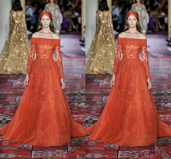 Bead And Button Show 2020.2018 Elie Saab 2020 Orange Off The Shoulder Red Carpet Evening Dresses Long Sleeve Appliques Beads Sweep Train Formal Occasion Prom Party Dress From