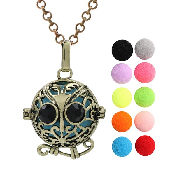 Antique Bronze Owl Essential Oil Diffuser Ball Locket Pendant Aromatherapy Cage Angel Bola Mexican Chime Ball for Women Jewelry Making