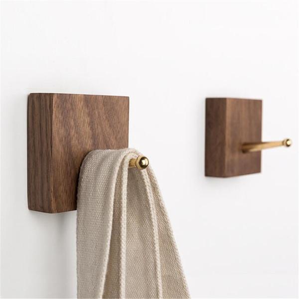 Ореховый площади Крюк латунный Крюки Solid Wood Крючки для полотенец Одежда Главная кухни Аксессуары для ванной комнаты Home Decor