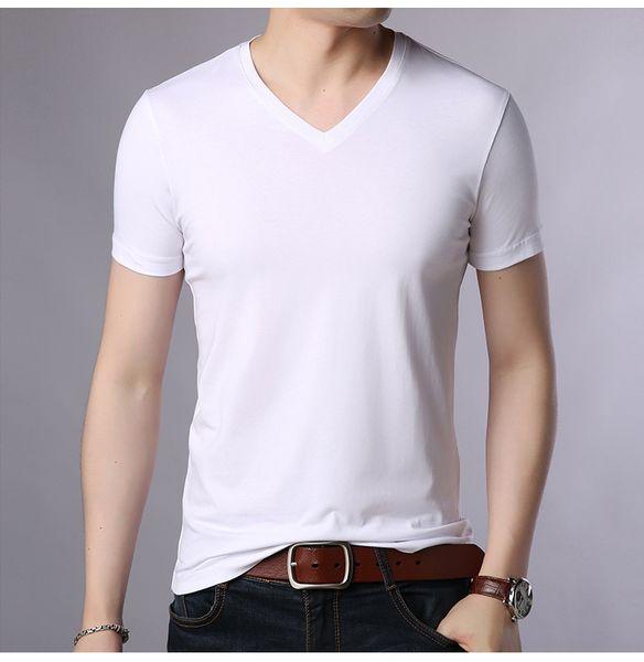 Лето новый мужской тонкий V-образным вырезом с коротким рукавом футболка повседневная мужская простой сплошной цвет хлопок футболка HH03