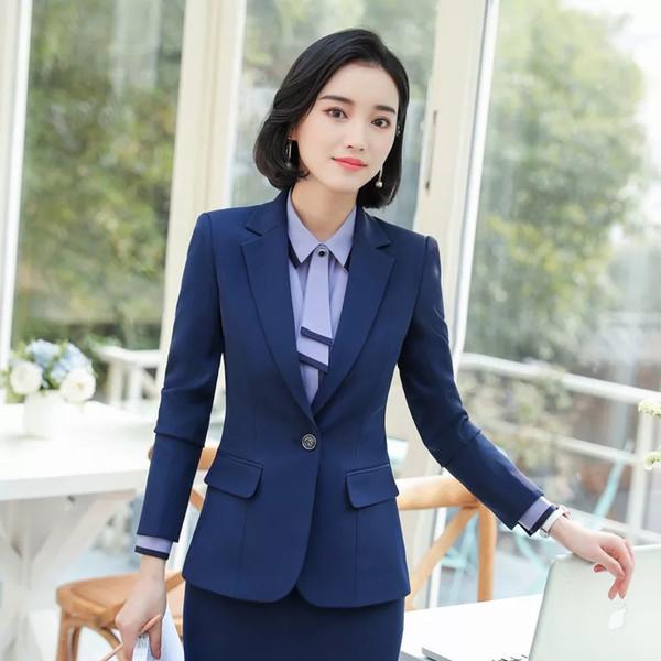 Mujeres 2 Unidades Set Pantalones Formales Trajes Blazer Chaqueta Oficina Señora Trabajo Uniformes de Negocios 2019 Ropa de Otoño Tallas grandes