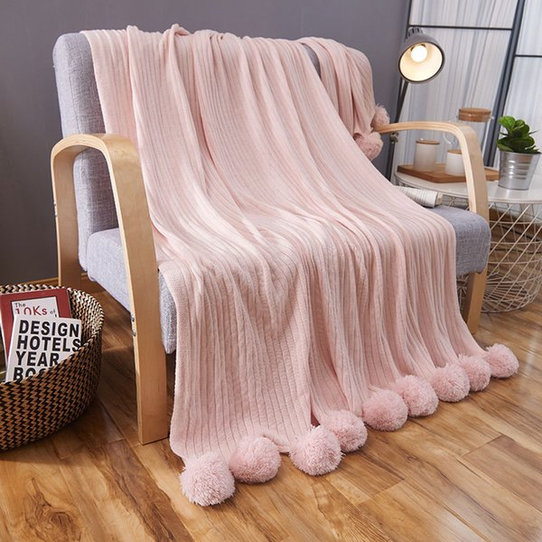 Groovy Pink Soft Natural Cotton Hypoallergenic Striped Knitted Throw Blankets With Sofa Bedding Couch Cover Pompoms Blanket Large Fuzzy Blankets Blankets And Caraccident5 Cool Chair Designs And Ideas Caraccident5Info